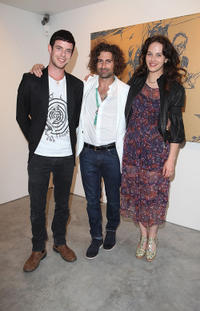 Harry Treadaway, artist Todd DiCiurcio and Jessica Brown Findlay at the Todd DiCiurcio