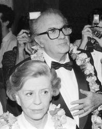 Giulietta Masina and Federico Fellini at the 'Area', a club.