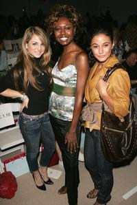 Joanna 'Jojo' Levesque, Shamika Cotton and Emmanuelle Chriqui at the Tracy Reese Spring 2007 fashion show during the Olympus Fashion Week.