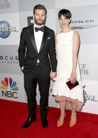 Jamie Dornan and Amelia Warner at the NBCUniversal 2015 Golden Globe Awards in California.