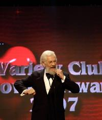 Sir Ian McKellen presents an award at the Variety Club Showbiz Awards.