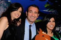 Louise Monot, Jean Dujardin and Reem Kherici at the Paris premiere of