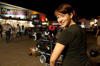 Diablo Cody on the set of