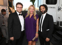 Roast Master Seth Rogen, Busy Philipps and Jason Mantzoukas at the Comedy Central Roast of James Franco in California.