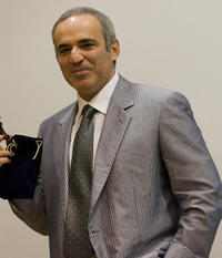 Garry Kasparov at the press conference of Chess Foundation Launch in Valencia.