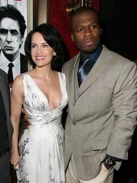 Carla Gugino and Curtis Jackson at the premiere of
