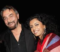 Kabir Bedi and Parveen Dusanj at the Golden Dreams party during the Rome Film Festival.