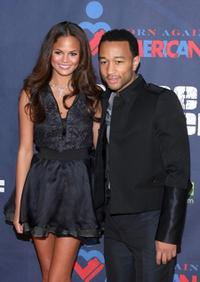 Christine Teigen and John Legend at the pre-inauguration party hosted by Tropicana.