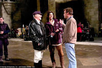Douglas Gresham, Ben Barnes and Mark Johnson on the set of