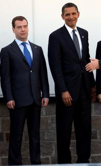 Dmitri Medvedev and Barack Obama at the meeting of G8 in L'Aquila, Italy.