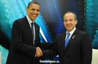 Barack Obama and Felipe Calderon at the bilateral meeting during the first summit of North American leaders.
