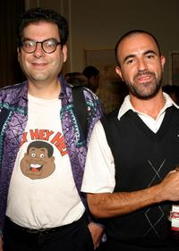 Michael Musto and his guest at the Paper Magazines 20th Anniversary Party and Book Launch during the Olympus Fashion Week Spring 2005.