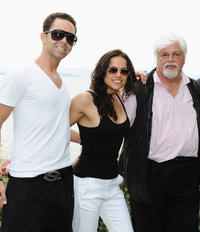 Producer Hamza Talhouni, Michelle Rodriguez and Paul Watson at the Sea Shepherd lunch honoring Michelle Rodriguez and Paul Watson in France.