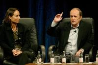 Bob Newhart and Kyra Thompson at the PBS 2005 Television Critics Association Summer Press Tour.