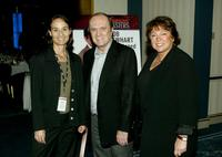 Bob Newhart, Susan Lacy and Kyra Thompson at the PBS 2005 Television Critics Association Summer Press Tour.