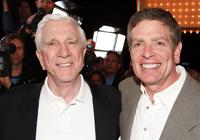 Leslie Nielsen and producer David Zucker at the premiere of