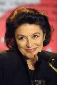 Anouk Aimee attends a news conference at the Berlinale Film Festival.
