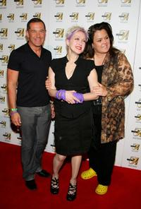 Rosie O'Donnell, Joe Solmonese and Cyndi Lauper at the official True Colors Tour after party at Studio 54.