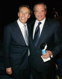 Jerry Orbach and Dick Wolf at the Mystery Writers of America 57th Annual Edgar Awards.
