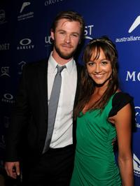 Chris Hemsworth and Sharni Vinson at the Australians In Film's 2010 Breakthrough Awards.