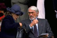 Gregory Peck at the Prix de L''Arc de Triomphe at Longchamp in Paris.