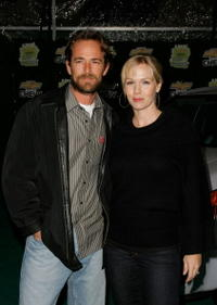 Luke Perry and actress Jennie Garth at the Chevy Rocks The Future at the Buena Vista Lot.