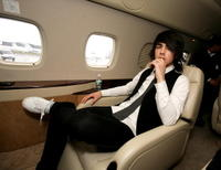 Joe Jonas at the Embraer RJ135 private jet in UK.