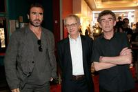 Eric Cantona, Ken Loach and Steve Evets at the UK premiere of