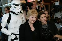 Debbie Reynolds and Carrie Fisher at the premiere of