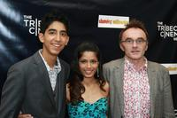 Dev Patel, Freida Pinto and Director Danny Boyle at the 2008 Tribeca cinema series.