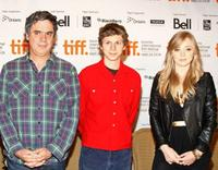 Miguel Arteta, Michael Cera and Portia Doubleday at the press conference of