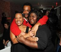 Screenwriter Sapphire, director Lee Daniels and Gabourey Sidibe at the after party of the screening of