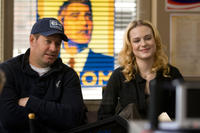 Producer Brian Oliver and Evan Rachel Wood on the set of
