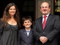 Elizabeth West, Milan Rushdie and Salman Rushdie at the High Court in London.
