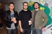 James Franco, Seth Rogan and Danny R. McBride at the MTV's Total Request Live.