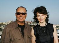 Juliette Binoche and Abbas Kiarostami at the press conference promoting the movie