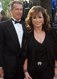 Jack Scalia and Jackie Collins at the Vanity Fair Oscar Party.