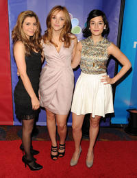 Nasim Pedrad, Abby Elliot and Jenny Slate at the NBC Universal's 2010 Upfront Presentation in New York.