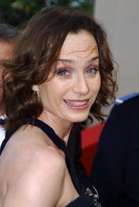 Kristin Scott Thomas at the screening of 'Les Invasions barbares' in Cannes, France.