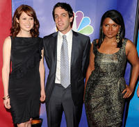 Ellie Kemper, B.J. Novak and Mindy Kaling at the 2010 NBC Upfront presentation in New York City.