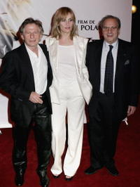 Director Roman Polanski, Emmanuelle Seigner and Ronald Harwood at the Paris premiere of