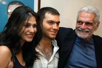 Omar Sharif, Basma and Shref Ramzi at thepress conference after the first day of shooting of