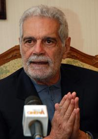 Omar Sharif at thepress conference after the first day of shooting of
