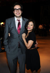 Nelson Franklin and Liza Lapira at the Twentieth Century Fox 75th Anniversary party in California.