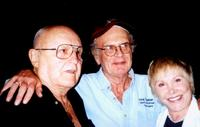 Rod Steiger, Charles Nelson Reilly and Joan Benedict at the North Hollywood outside a theater.