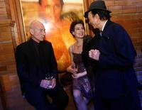 Patrick Stewart, James Hong and actress Sean Young at the after party of