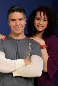 Esai Morales and Harmony Santana at the portrait session of