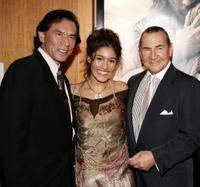 Wes Studi, Q'Orianka Kilcher and August Schellenberg at the premiere of