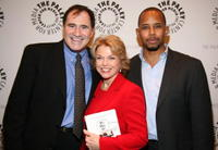 Richard Kind, Pat Mitchell and Michael Boatman at the panel discussion celebrating Gary David Goldberg's autobiography