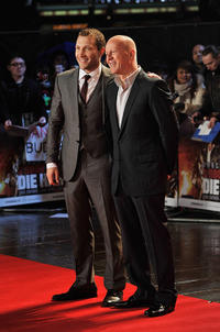 Jai Courtney and Bruce Willis attend the UK premiere of